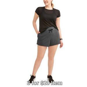 Pants - Plus Size   Striped Brushed Shorts   Grey